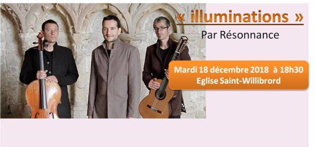 Mardi 18 décembre 2018 à 18h30 à l'Eglise Saint-Willibrord Production : Estrella et Agua Music Coproduction : Abbaye de Noirlac, Centre Culturel de Rencontre (Propriété du département du Cher) Après le succès de leur concert Resonance à l'église Saint-Thomas-Becket en 2015, le chanteur contre-ténor Samuel Cattiau et le guitariste Quentin Dujardin nous […]